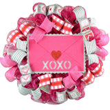 Valentine Love XOXO Wreath - Valentine's Day Decor - Envelope Mesh Door Wreath - Pink Door Wreaths