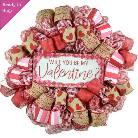 Valentine's Day Wreath - Will you Be My Valentine Decor - Mesh Door Wreath