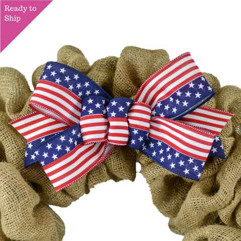 Stars Stripes Fourth of July Add On Wreath Bow - Wreath Embellishment for Already Made Wreath - Pink Door Wreaths