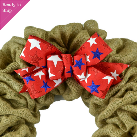 Stars Fourth of July Royal Blue White Red Add On Wreath Bow - Wreath Embellishment for Already Made Wreath - Pink Door Wreaths