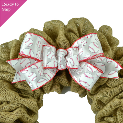 Baseball White Red Add On Wreath Bow - Wreath Embellishment for Already Made Wreath - Pink Door Wreaths