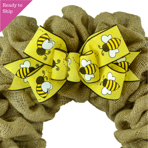 Bee Bumblebee Wreath Bow - Spring Wreath Embellishment for Making Your Own - Pink Door Wreaths