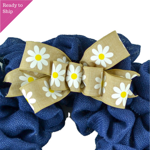 Daisy Burlap Add On Wreath Bow - Wreath Embellishment for Already Made Wreath - Pink Door Wreaths
