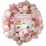 Conversation Heart Valentine's Day Wreath - Valentines Loads of Love Decoration - Pink Door Wreaths