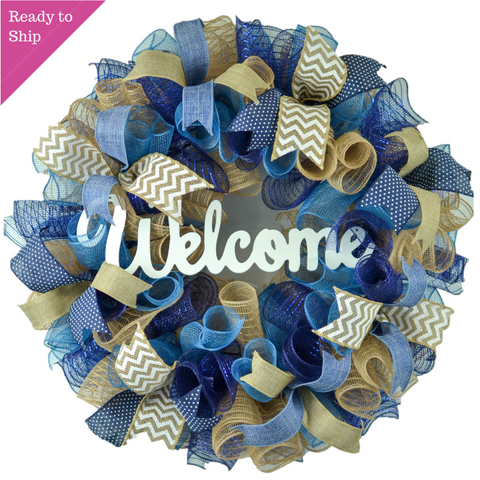 Mother's Day Everyday Wreath - Birthday Gift for Her - Year Round Wreath - Denim Navy Blue Burlap