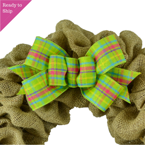 Spring Plaid Wreath Bow - Easter Wreath Embellishment for Making Your Own - Farmhouse Already Made Green Pink Turquoise - Pink Door Wreaths