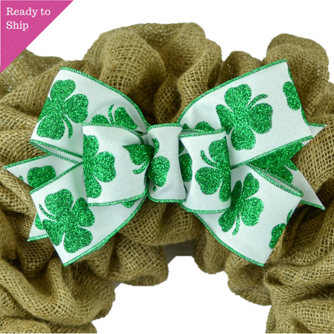 St Patricks Day Wreath Bow - Clover Wreath Embellishment for Making Your Own - Farmhouse Already Made - Pink Door Wreaths