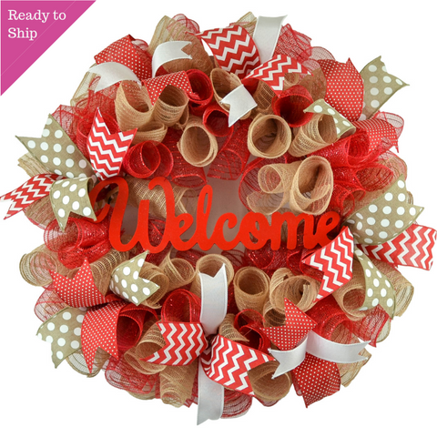 Mother's Day Gift | Jute burlap everyday year round welcome wreath - Pink Door Wreaths