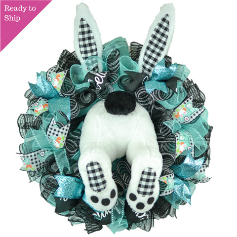 Buffalo Plaid Easter Bunny Butt Summer Spring Welcome Door Wreath - Pink Door Wreaths