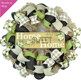 Home Sweet Home Wreath - Magnolia Spring Everyday Door Decor - Pink Door Wreaths