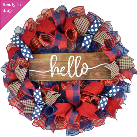 Navy Red Everyday Wreath - Hello Sign - Birthday Gift for Her - Year Round Decor - Pink Door Wreaths