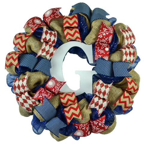 Everyday Burlap Mesh Door Wreath - Monogram Rustic Farmhouse Navy Blue Front Door Decor