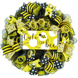 Cute as a Bee Door Wreath - Honeybee Welcome Colorful Summer Decor