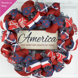 Fourth of July Independence Day Mesh Door Wreath - Red White Navy Blue White - God Bless America