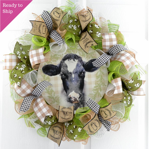 Cow Farmhouse Wreath - Everyday Wreath - Birthday Gift for Her - Pink Door Wreaths