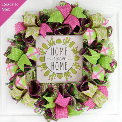 Home Sweet Home Cactus Wreath - Black Green Pink Spring Decor - Mother's Day Gift