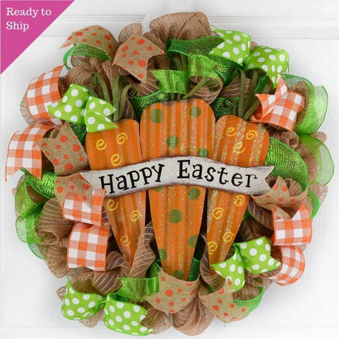 Easter Carrot Wreath - Summer Spring Welcome Door Wreath
