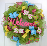 Summer Spring Welcome Door Wreath; Pink, Yellow, Moss Green, White, Turquoise