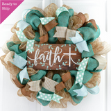Rustic Door Wreath | Faith Cross Mesh Wreath |