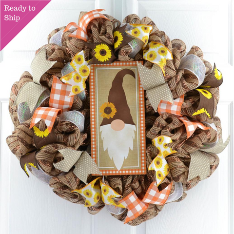 Gnome Fall Wreath - Sunflower Thanksgiving Front Door Wreath