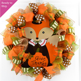 Fall Wreath | Fox Wreath | Give Thanks Decor | Thanksgiving Wreath