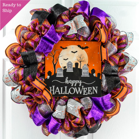 Graveyard Happy Halloween Front Door Mesh Wreaths | Black Orange Purple Silver Wreath