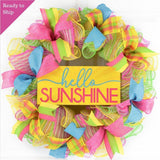 Hello Sunshine Summer Spring Welcome Door Wreath - Mother's Day Gift - Pink Turquoise Yellow