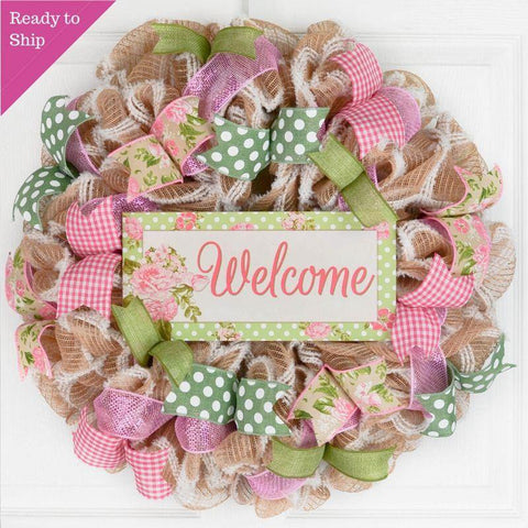 Everyday Floral Welcome Wreath - Jute Burlap Spring Decor - Wedding Gift - Burlap Pink Moss Green White