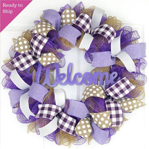 Mother's Day Gift | Jute burlap everyday year round welcome wreath; purple white brown
