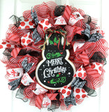 Snowman Christmas Mesh Door Wreath; White Red Emerald Green Black