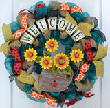 Spring Watering Can Deco Mesh Door Wreath; Burlap Turquoise Red Yellow Orange Black