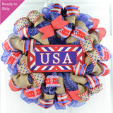 Burlap USA Fourth of July Wreath | Rustic Red White Navy Blue Flag Decoration | Patriotic Decor