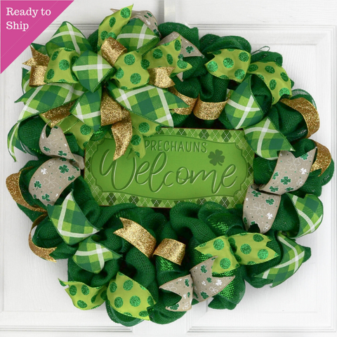 St Patricks Day Clover Mesh Door Wreath - Saint Patrick's Leprechauns Lime Green White Black - Pink Door Wreaths