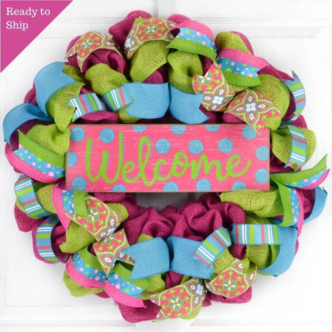 Summer Spring Welcome Door Wreath - Burlap Mother's Day Gift - Pink Turquoise Lime Green