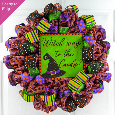 Witch Way to the Candy Witch Hat Halloween Wreath - Trick or Treating Front Door Mesh Wreath
