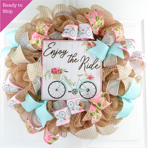 Jute wreath with Enjoy the Ride Bicycle sign