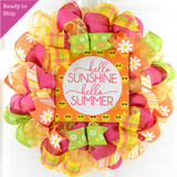 Hello Sunshine Summer Wreath - Beach Mesh Door Wreath
