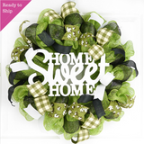 Home Sweet Home Wreath | Cotton Spring Everyday Door Wreath | Moss Green Black White