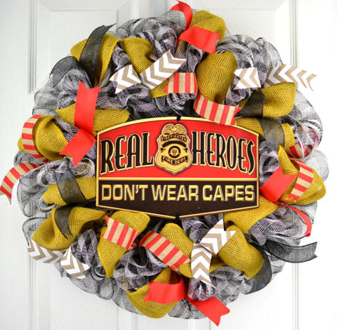 Firefighter Mesh Door Wreath | Firefighter Wife Gift
