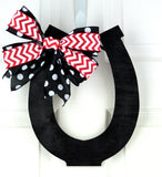Kentucky Derby Horseshoe Door Hanger | Derby Bridal Shower - Pink Door Wreaths