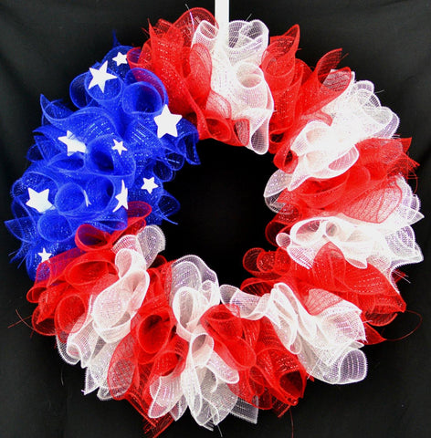 Fourth of July Flag Deco Mesh Door Wreath