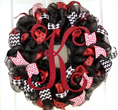 Monogram Everyday Mesh Door Wreath | Black Maroon White