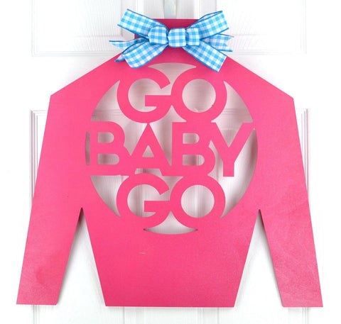 Kentucky Derby Go Baby Go door hanger - Pink Door Wreaths