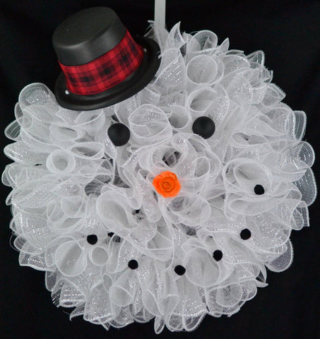 Snowman Top Hat Winter Mesh Front Door Wreath | White Black