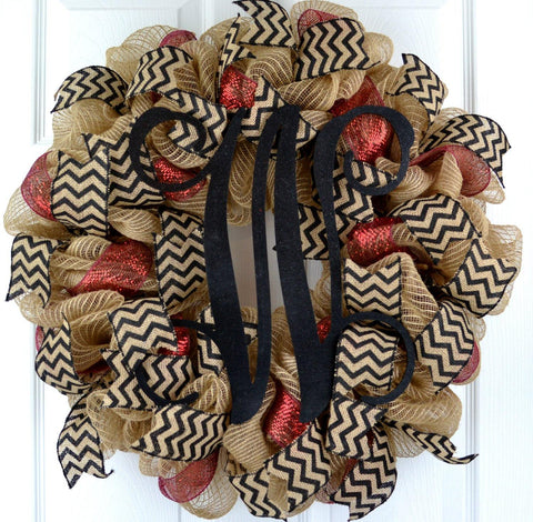 Jute Burlap Monogram Chevron Everyday Door Wreath | Brown Maroon Black