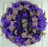 Purple black chevron mesh door wreath monogram