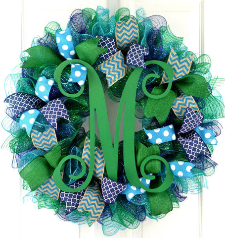 Everyday Monogram Mesh Door Wreath | Navy Blue Emerald Green Turquoise - Pink Door Wreaths