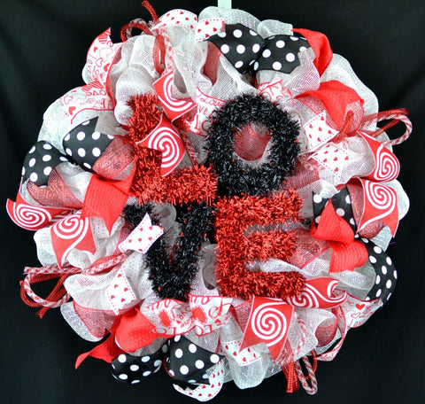 Valentine Mesh Door Wreath | Love Sign | White Red Black