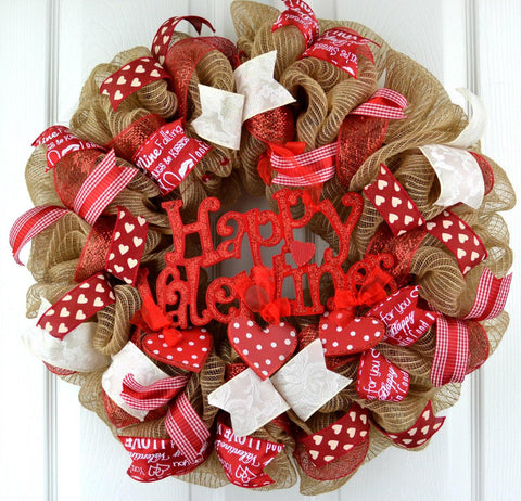 Burlap Happy Valentines Door Wreath : Jute Red White