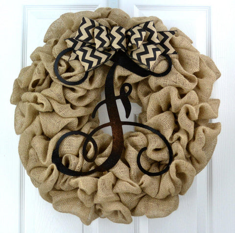 Black Burlap Monogram Door Wreath with Chevron Bow